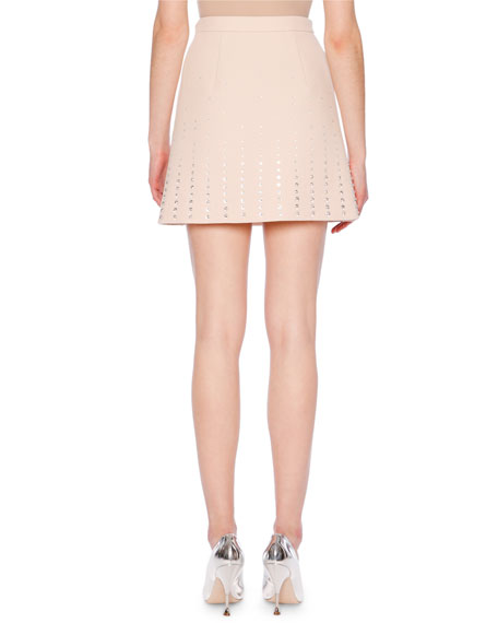 A-Line Wool Crepe Mini Skirt w/ Crystal-Studs Allover