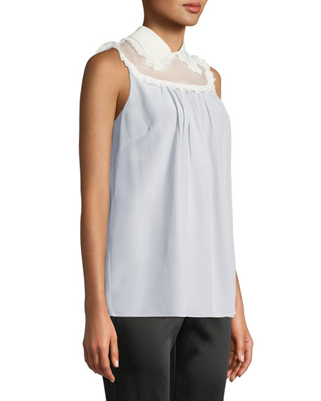 Sleeveless Button-Down Back Silk Crepe de Chine Blouse w/Lace