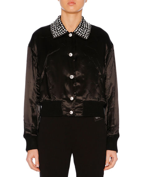 Button-Front Crystal-Embroidered Sateen Jacket