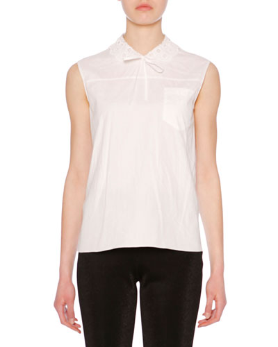 Lace-Collar Sleeveless Oxford Cotton Top