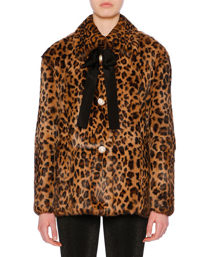 Bow-Detail Button-Front Leopard-Print Rabbit Fur Coat
