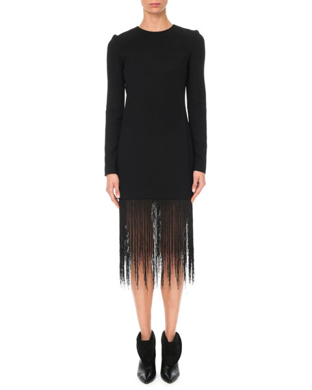 Givenchy Long-Sleeve Crewneck Sheath Wool Crepe Cocktail Dress