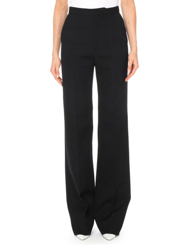 High-Waist Wide-Leg Classic Wool Trousers