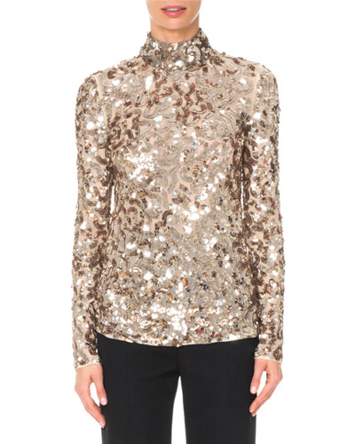Long-Sleeve Mock-Neck Squiggle Sequin Top
