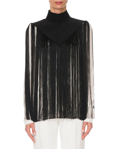 Mock-Neck Fringe Top