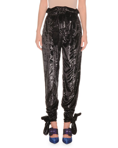 High-Waist Laminated Velvet Tie-Cuffs Pants