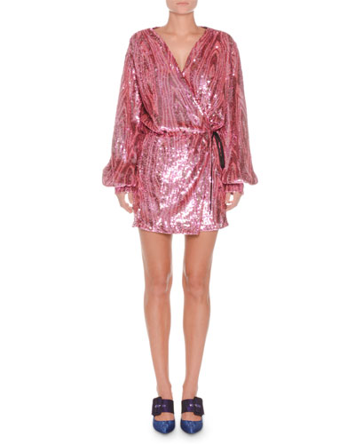 Long-Sleeve Wrap Allover Sequin Mini Dress