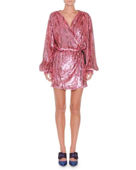 Long-Sleeve Wrap Allover Sequin Mini Dress