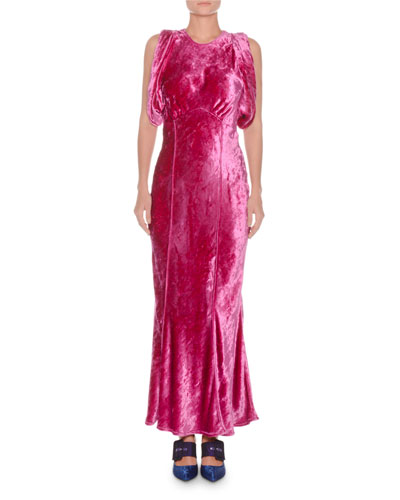 Jewel-Neck Sleeveless Mermaid Velvet Evening Gown