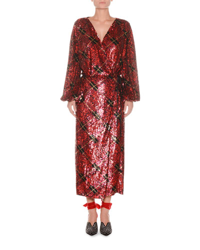 Blouson-Sleeve Plaid Sequin Wrap Robe Evening Dress
