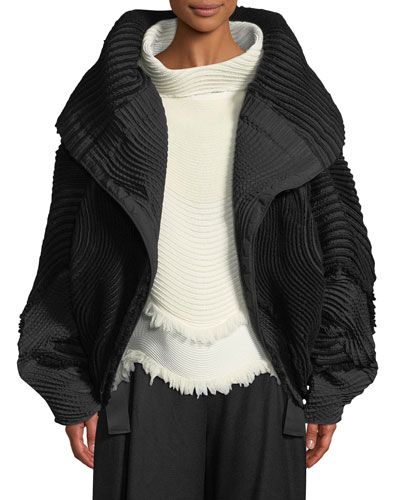 One-Button Oversized Pleated Jacket