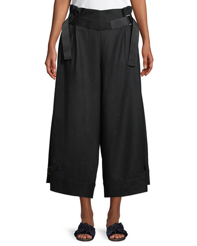 Wide-Leg Wool-Blend Pants w/ Belt