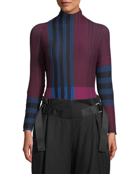 Issey Miyake Mock-Neck Long-Sleeve Striped Pleated Sweater