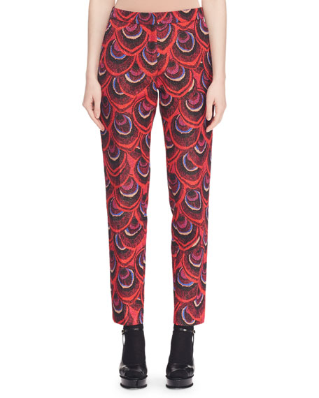 Peacock-Jacquard Slim Straight-Leg Pants, Red