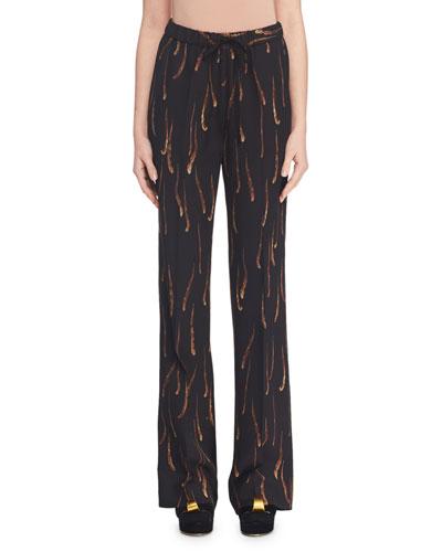 Feather-Print Drawstring-Waist Straight-Leg Pants