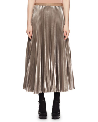Crinkled-Metallic Pleated Long Skirt