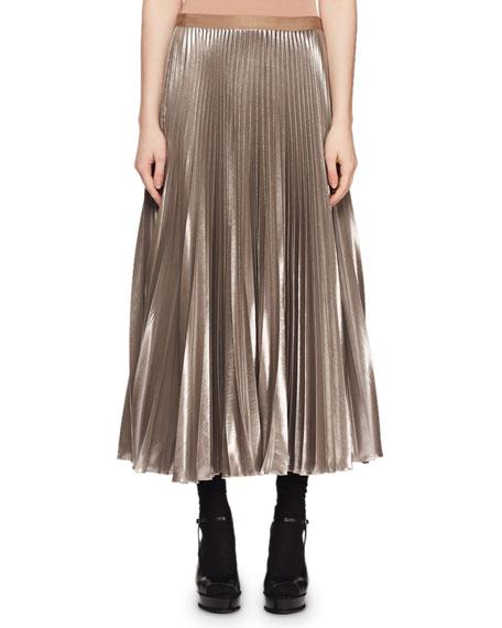 acd7e25107a5 Dries Van Noten Crinkled-Metallic Pleated Long Skirt