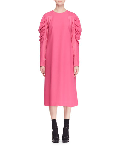 Ruched Long-Sleeve Crewneck A-Line Crepe Dress