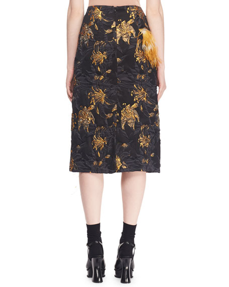 A-Line Metallic-Jacquard Skirt w/ Feather Trim