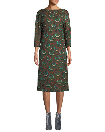 3/4-Sleeve Metallic Peacock-Print Shift Dress