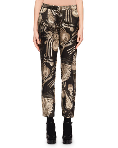 Mid-Rise Straight-Leg Cropped Metallic-Jacquard Pants