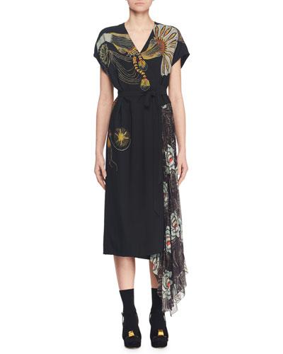 V-Neck Multi-Print Midi Wrap Dress