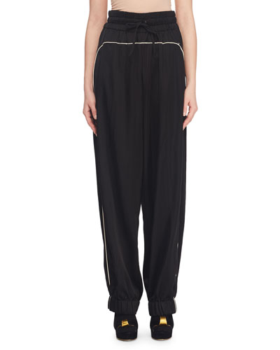 High-Waist Track Pants w/ Piping