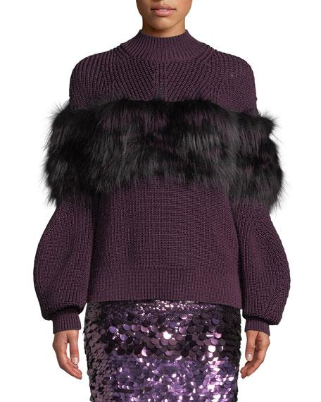 Sally LaPointe Turtleneck Rib-Knit Sweater w/ Fox Fur