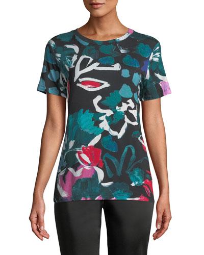 Short-Sleeve Crewneck Floral-Print Tee
