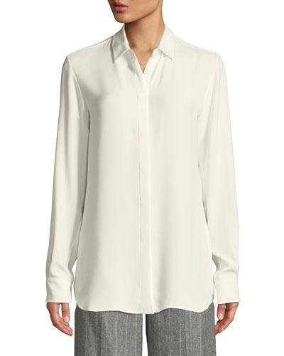 Jocelyn Button-Front Long-Sleeve Classic Silk Blouse