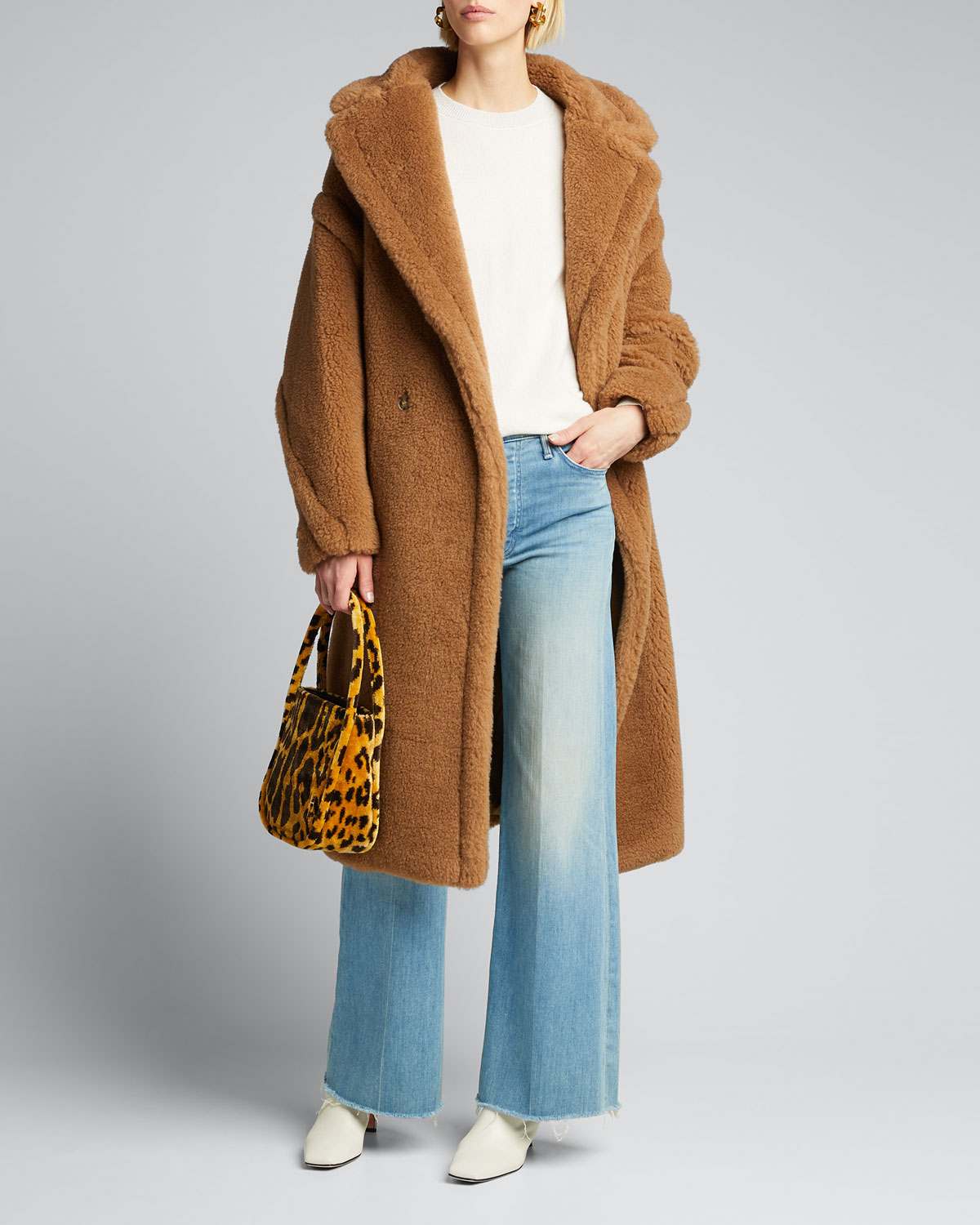 Exact Product: Kylie Jenner Brown Fur Oversized Coat Street Style Calabasas 2019, Brand: Max Mara, Available on: bergdorfgoodman.com, Price: $3590