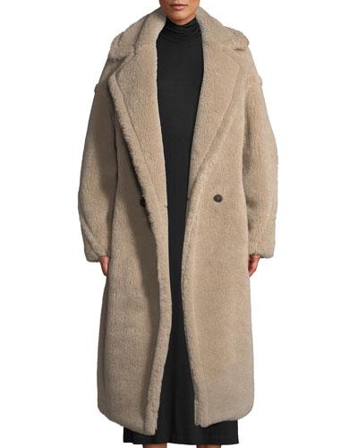 Ginnata Double-Breasted Alpaca-Blend Long Coat