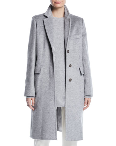 Maxmara Furetto Button-Front Mid-Length Camel Hair Coat