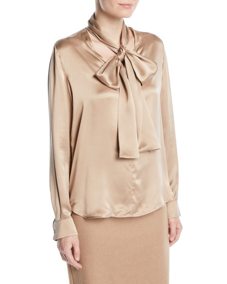 Tie-Neck Long-Sleeve Silk Satin Blouse