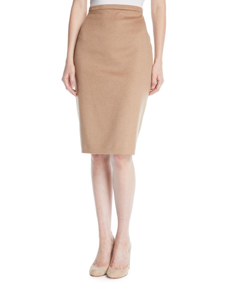 Oliveto Camel Hair Knee-Length Pencil Skirt