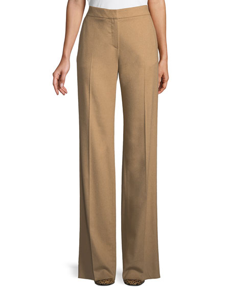 Maxmara High-Waist Wide-Leg Camel Hair Pants