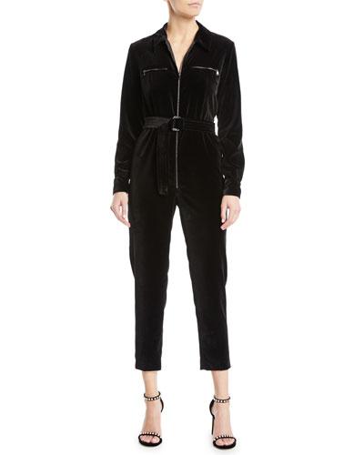 Alloro Zip-Front Long-Sleeve Belted Skinny-Leg Velvet Jumpsuit