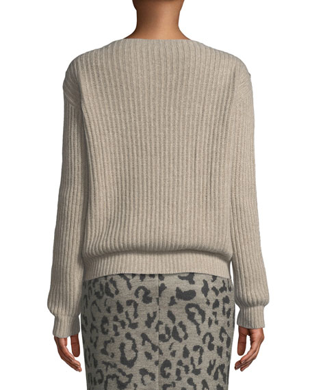 Salpa Boat-Neck Long-Sleeve Ribbed Sweater w/ Shoulder Buttons