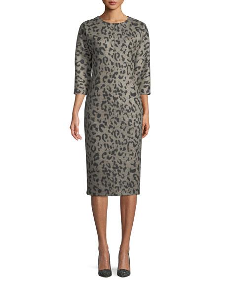 Dramma Crewneck 3/4-Sleeve Leopard-Print Wool Sheath Dress in Beige