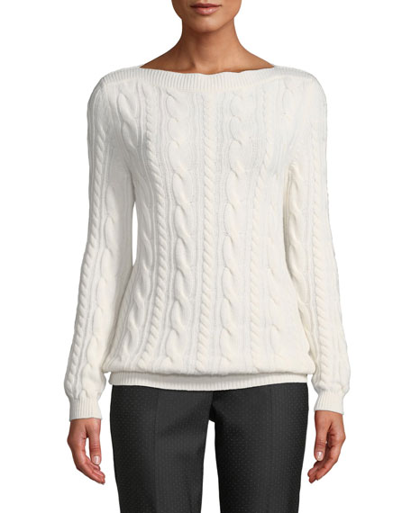 Maxmara Arles Boat-Neck Cable-Knit Wool-Cashmere Sweater