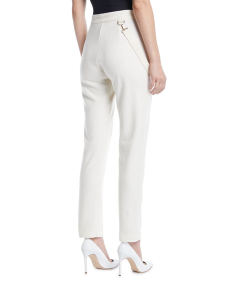 High-Rise Skinny-Leg Wool Pants w/ Strap Detail