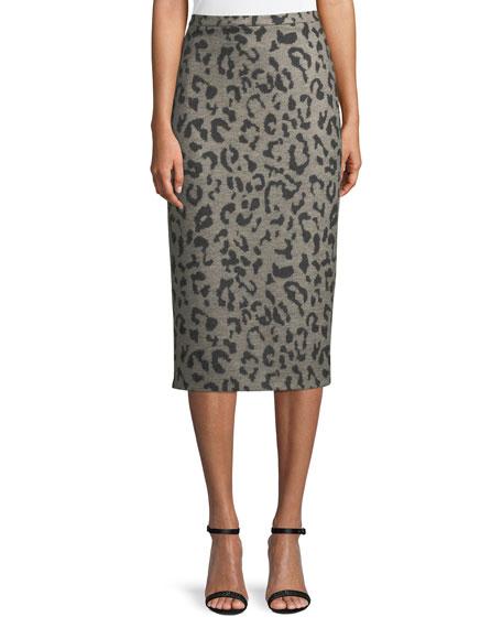 Thomas Leopard-Print Wool Pencil Skirt, Gray