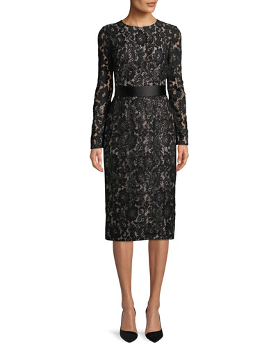 Gala Long-Sleeve Lace Sheath Midi Dress