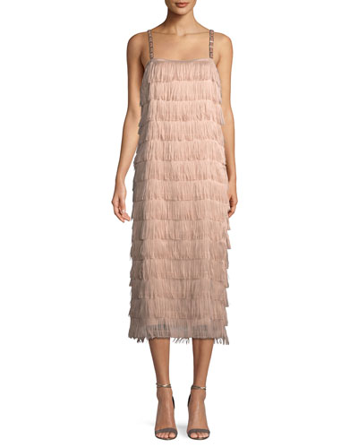 Lampara Sleeveless Tiered Fringe Midi Cocktail Dress