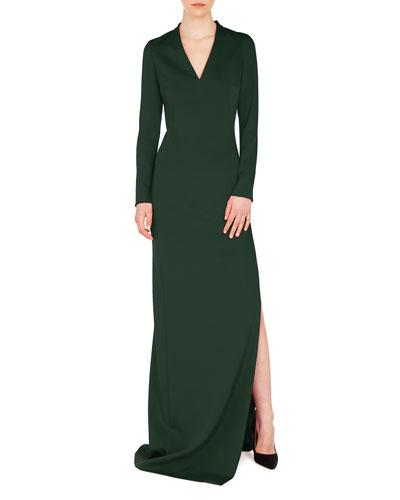 V-Neck Long-Sleeve Side-Slit Silk Stretch-Crepe Evening Gown