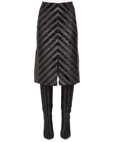 Suede & Napa Leather Chevron A-Line Skirt