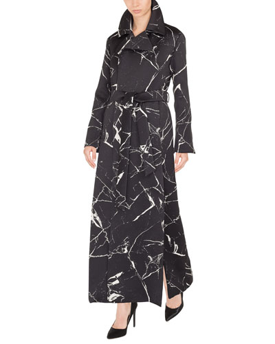 Marble-Tile Jacquard Wool-Blend Coat w/ Self-Belt