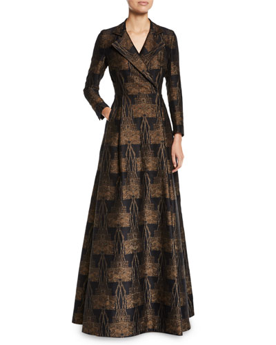 Metallic Vienna Jacquard Long-Sleeve Evening Coat Gown