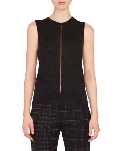 Crewneck Sleeveless Cashmere-Silk Pullover Top