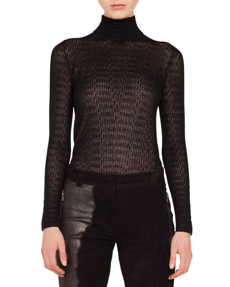 Akris Mock-Neck Long-Sleeve Lace Knit Pullover Top